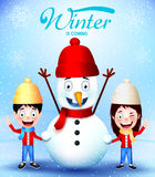 Zima Przychodzi z dzieciaków Wektorowymi charakterami i bałwanu kartka z pozdrowieniami ilustracji