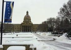 Zima przyjeżdżał w stolicie Alberta obrazy royalty free