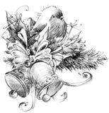 Zima ptak, nakreślenie dla nowego roku tła ilustracji