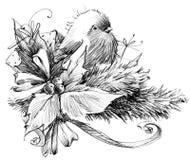 Zima ptak, nakreślenie dla nowego roku tła royalty ilustracja