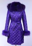 Zima puszka kurtka odizolowywająca na popielatym tle Purpura puszka kurtka na atrapie bez twarzy Purpura żakiet Obrazy Stock