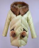 Zima puszka kurtka odizolowywająca na popielatym tle Wapno puszka kurtka na atrapie bez twarzy outerwear płótno Zdjęcia Stock