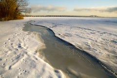 Zima ranek świętego Lawrance rzeka Obrazy Royalty Free