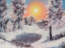 Zima ranek ilustracji