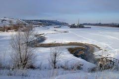 Zima ranek na rzece Obrazy Stock