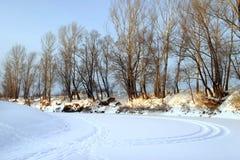 Zima ranek na rzece Obrazy Royalty Free