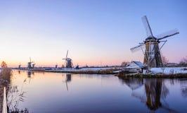 Zima ranek w holandiach Zdjęcia Royalty Free