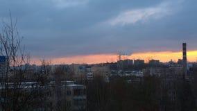 Zima ranek w mieście, świt zbiory