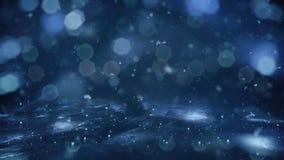 Zima ruchu tła świateł błękitny śnieg spada na lodowej defocused bokeh pętli 4k ilustracji
