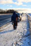 Zima rybak iść łowić Zdjęcia Stock