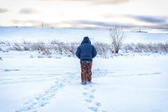 Zima rybak iść łowić Obraz Royalty Free