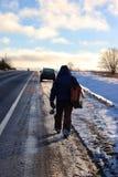Zima rybak iść łowić Zdjęcie Royalty Free