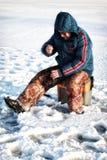Zima rybak na jeziorze Obraz Royalty Free