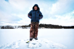 Zima rybak na jeziorze Obrazy Royalty Free