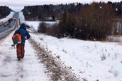 Zima rybaka spaceru połów Obraz Stock