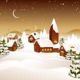 Zima scena - kartka bożonarodzeniowa Zdjęcia Stock
