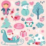 Zima sezonu klamerki sztuki elementy Fotografia Royalty Free