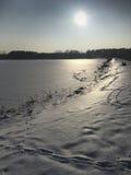Zima spacer wzdłuż zamarzniętego jeziora Zdjęcia Royalty Free