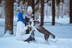 Zima spacer z husky zdjęcia stock
