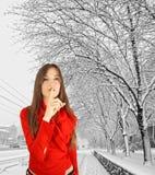 zima spokojna kobieta Zdjęcia Royalty Free