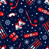 Zima sportów Bezszwowy wzór również zwrócić corel ilustracji wektora Zima outdoors powtarza teksturę Aktywność szablonu druk lód ilustracja wektor