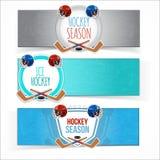 Zima sportów hokeja sztandary Zdjęcia Royalty Free