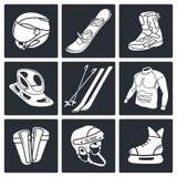 Zima sportów ikony kolekcja ilustracja wektor