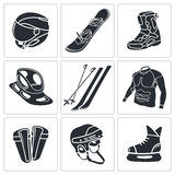 Zima sportów ikony set ilustracji