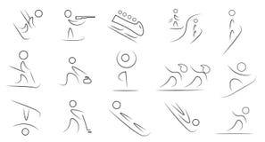 Zima sportów ikony set Fotografia Royalty Free