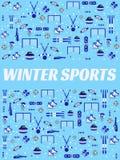 Zima sportów tło Sportowy wyposażenie wektoru plakat Hokej na lodzie, łyżwiarstwo, narciarstwo, jazda na snowboardzie, biathlon r ilustracji