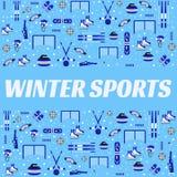 Zima sportów tło Sportowy wyposażenie wektoru plakat Hokej na lodzie, łyżwiarstwo, narciarstwo, jazda na snowboardzie, biathlon ilustracja wektor
