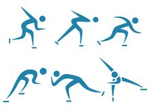 Zima sport - Jeździć na łyżwach ikona sety ustawiających Zdjęcia Stock