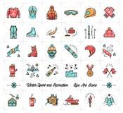 Zima sporta konturu ikony, odtwarzanie i zabawa, narta, jazda na snowboardzie, jeździć na łyżwach Zdjęcia Stock