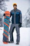 Zima sporta portret Snowboarder Obraz Stock