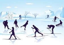 Zima sporty na lodzie i śniegu ilustracja wektor