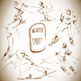 Zima sporty, narciarki scetch Obraz Royalty Free