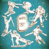Zima sporty, narciarki scetch royalty ilustracja
