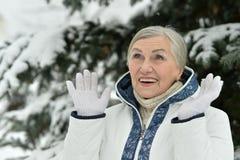 zima stara kobieta Obrazy Royalty Free