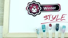 Zima stylu bałwan i manicure zdjęcie wideo