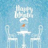 Zima sztandar z ptakiem w klatce na stole ilustracja wektor