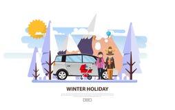Zima Urlopowy Wektorowy Backgound Biały Śnieżny krajobraz z rodziną Fotografia Royalty Free