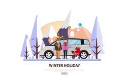 Zima Urlopowy Wektorowy Backgound Biały Śnieżny krajobraz z rodziną Obraz Royalty Free