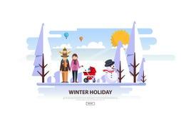 Zima Urlopowy Wektorowy Backgound Biały Śnieżny krajobraz z rodziną Fotografia Stock