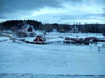Zima w biegunowym miasteczku blisko Bodo Zdjęcia Stock