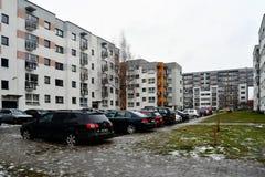 Zima w kapitale Lithuania Vilnius miasta Pasilaiciai okręg Zdjęcie Stock