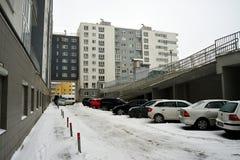 Zima w kapitale Lithuania Vilnius miasta Pasilaiciai okręg Zdjęcie Royalty Free