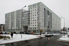 Zima w kapitale Lithuania Vilnius miasta Pasilaiciai okręg Obrazy Stock