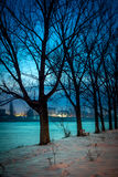 Zima w Rumunia Bucharest, marznący jezioro Obrazy Royalty Free