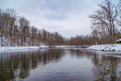 Zima w samiec okręgu administracyjnym na Delaware rzece Fotografia Royalty Free