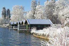 Zima w Tutzing na Jeziornym Starnberg, Niemcy Obrazy Royalty Free